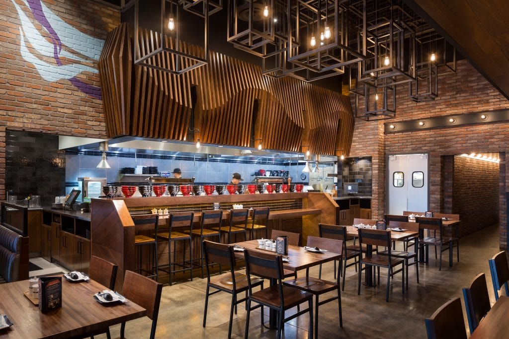 The dining room and bar seating at Jinya Ramen, a restaurant in Las Vegas, NV.