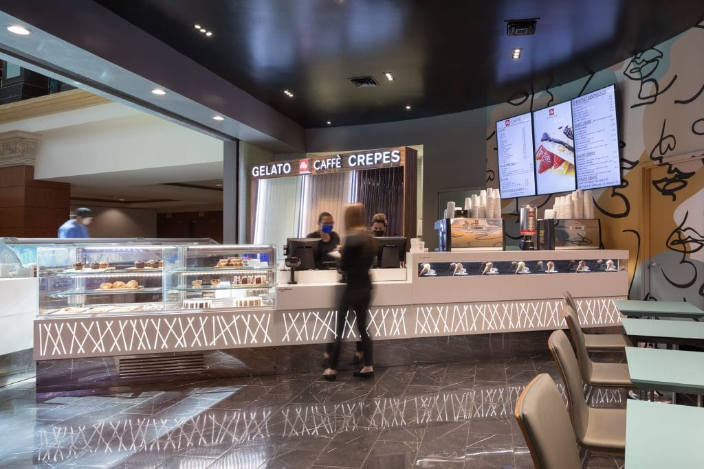 Interior view of the Cocolini gelato shop at Mandalay Place in Las Vegas, NV.