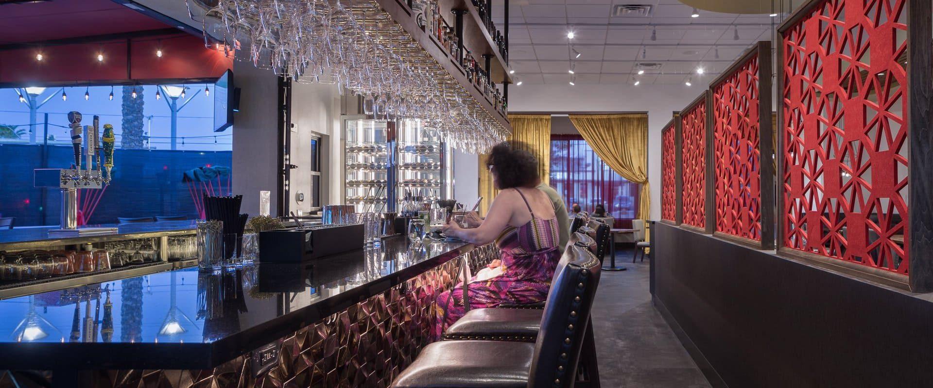 The bar inside Chinglish, a Cantonese restaurant in Las Vegas, NV.